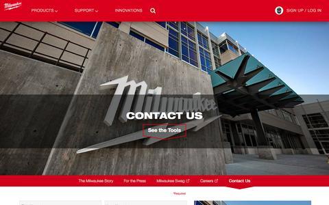 Screenshot of Contact Page milwaukeetool.com - Contact Milwaukee Tool Today | Milwaukee Tool - captured Aug. 22, 2018
