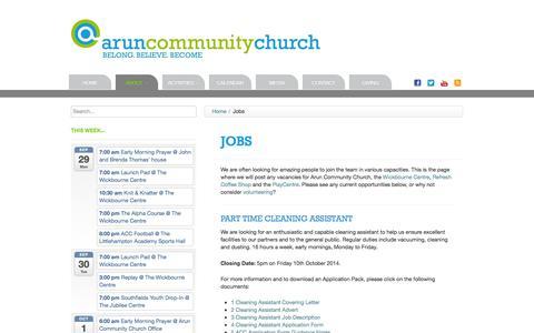 Screenshot of Jobs Page aruncommunitychurch.com - Arun Community Church | Jobs - captured Sept. 30, 2014