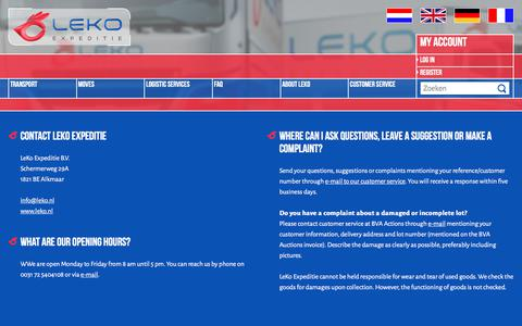 Screenshot of Support Page leko.nl - We would like to help you with any questions concerning the delivery of your purchase. - captured Aug. 1, 2017