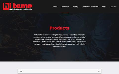 Screenshot of Products Page hitemp.ca - Products - Hi Temp High Temperature Material - captured Sept. 28, 2018