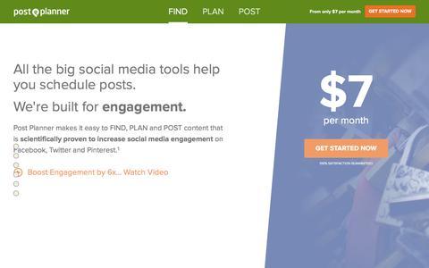 Screenshot of Home Page postplanner.com - Social Media Engagement App | Post Planner - captured Feb. 3, 2016