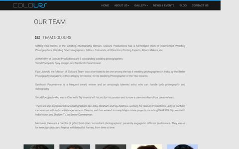 Screenshot of Team Page coloursproductions.com captured July 15, 2016