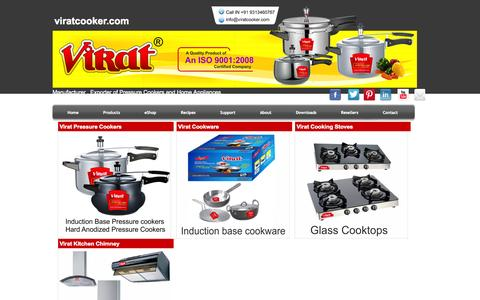 Screenshot of Products Page viratcooker.com - Virat Products - captured Oct. 1, 2014