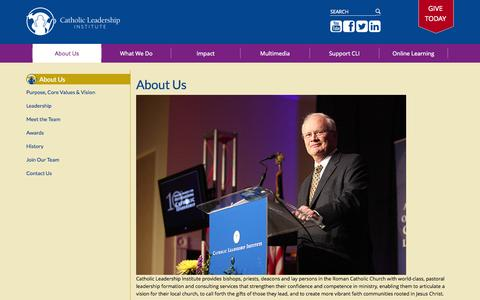 Screenshot of About Page catholicleaders.org - About Us - captured Oct. 2, 2014