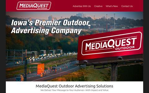 Screenshot of Home Page mediaquestoutdoor.com - MediaQuest Outdoor - captured Jan. 9, 2016