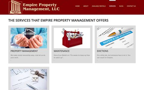 Screenshot of Services Page empirepropertymanagement.net - These are the services that Empire Property Management offer to investors and renters - captured Jan. 28, 2016