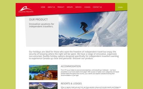 Screenshot of Products Page discoverholidays.ca - Our Product | Discover Holidays - captured Sept. 30, 2014