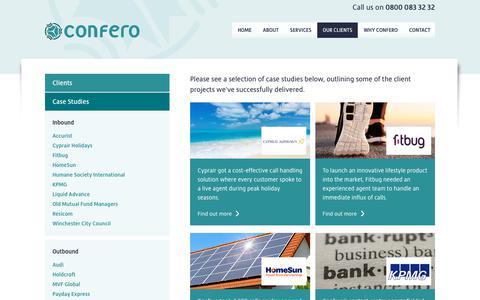 Screenshot of Case Studies Page confero.co.uk - Confero - Case studies of our UK Outsourced Call/Contact Centre services and solutions, London | Confero - captured Sept. 29, 2018
