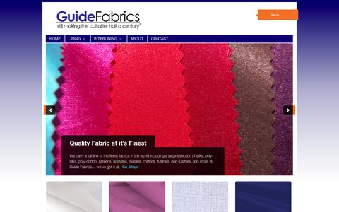 Screenshot of Home Page guidefabrics.com - Guide Fabrics | still making the cut after half a century - captured Sept. 30, 2014