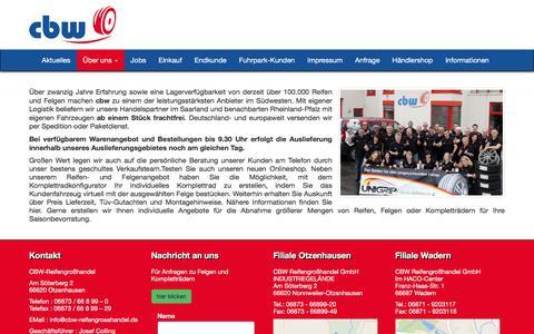 Screenshot of Home Page cbw-reifengrosshandel.de - CBW Reifengroßhandel - captured June 8, 2016