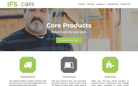 Screenshot of Products Page ifscore.com - Products – IFS Core - captured Oct. 12, 2018