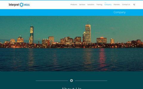 Screenshot of About Page interpretomics.co - Company - captured Dec. 4, 2015