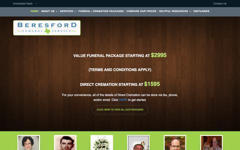 Screenshot of Home Page beresfordfunerals.com - Houston Funeral Home Beresford Funeral Homes, funerals, burials, cremations - captured June 29, 2018
