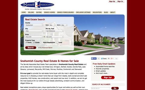 Screenshot of Home Page barnettassociates.net - Snohomish County Real Estate & Snohomish County WA Homes for Sale - BarnettAssociates.net - captured Oct. 5, 2014