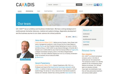 Screenshot of Team Page cavadis.com - Cavadis | developing diagnostic tests for cardiovascular disease - Our team - captured Sept. 29, 2014