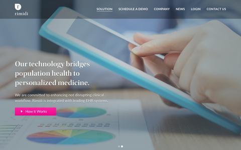 Screenshot of Home Page rimidi.com - Rimidi.com – Cloud-based enterprise solution for diabetes management. - captured March 10, 2018