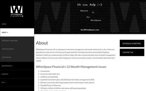 Screenshot of About Page ourwhitespace.com - About | Whitespace Financial - captured Feb. 14, 2016