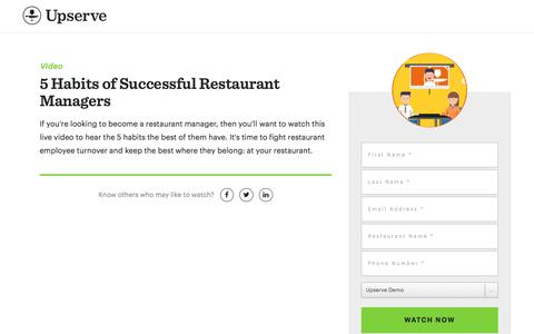 Screenshot of Landing Page upserve.com - Become A Restaurant Manager: 5 Habits You Need  | Upserve - captured April 9, 2018