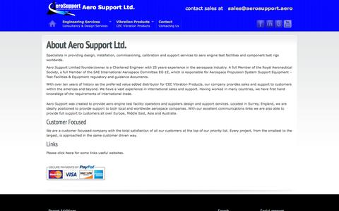 Screenshot of About Page aerosupport.aero - Aero Support | about us - captured Oct. 4, 2014