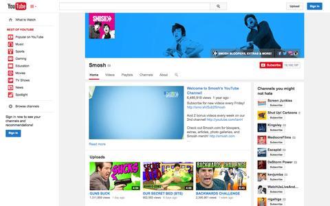 Screenshot of YouTube Page youtube.com - Smosh  - YouTube - captured Oct. 26, 2014