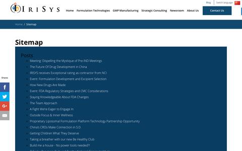 Screenshot of Site Map Page irisys.com - Sitemap | IRISYS - captured Sept. 20, 2018