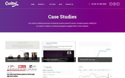 Screenshot of Case Studies Page custard.co.uk - Case Studies - Custard - captured Nov. 5, 2018