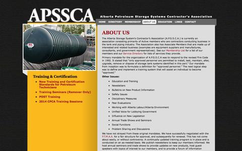 Screenshot of About Page apssca.com - A.P.S.S.C.A.  About Us - A.P.S.S.C.A. - captured Oct. 4, 2014