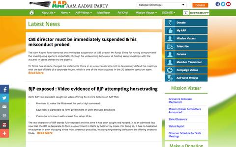 Screenshot of Press Page aamaadmiparty.org - Aam Aadmi Party – Latest News on Aam Aadmi Party - captured Sept. 18, 2014