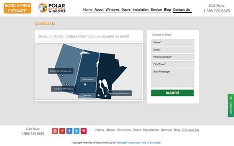 Screenshot of Contact Page Locations Page polarrayomaxwindows.com - Polar Windows   Winnipeg, Calgary, Edmonton, Brandon, Saskatoon - captured Oct. 22, 2014
