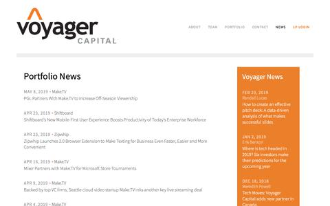 Screenshot of Press Page voyagercapital.com - Venture Capital News & Investments | Voyager Capital - captured May 14, 2019