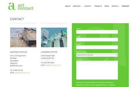 Screenshot of Contact Page artcontact.co.uk - Contact – Art Contact - captured Oct. 4, 2018