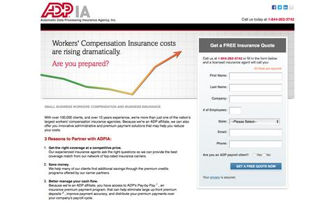 Screenshot of Landing Page adp.com - Workers' Compensation and Business Insurance - captured Feb. 25, 2016