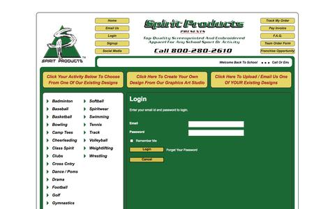 Screenshot of Login Page spiritproducts.net - Spirit Products - captured Oct. 7, 2014