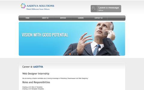 Screenshot of Jobs Page aaditva.com - AADITVA Solutions - captured Oct. 4, 2014