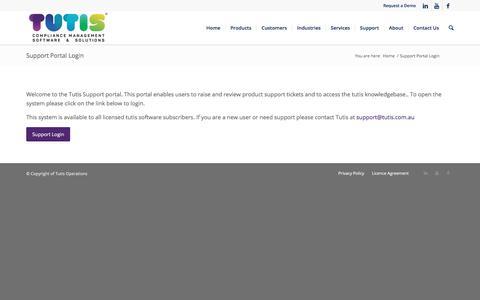 Screenshot of Support Page tutis.com.au - Support Portal Login - Tutis Operations - captured Sept. 2, 2017