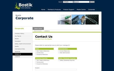 Screenshot of Contact Page bostik.co.uk - Bostik UK Contacts - captured Feb. 29, 2016