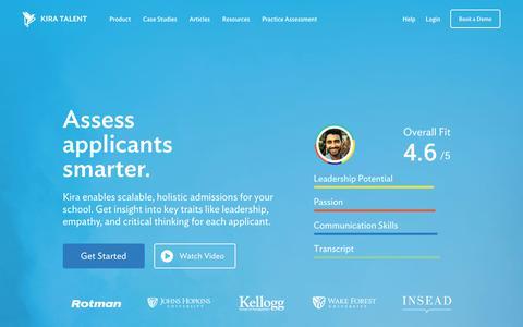 Screenshot of Home Page kiratalent.com - Kira Talent - Admissions software that makes assessing applicants smarter - captured Nov. 9, 2017