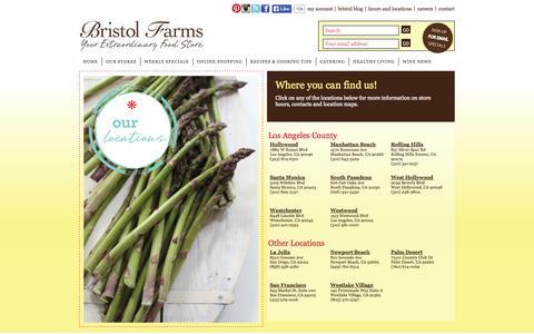 Screenshot of Locations Page bristolfarms.com - Locations | Bristol Farms - captured Sept. 23, 2014