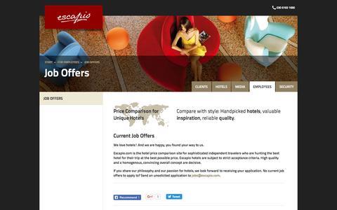 Screenshot of Jobs Page escapio.com - Job Offers   Escapio Corp - captured Nov. 10, 2016