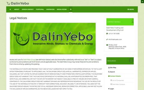 Screenshot of Terms Page dalinyebo.com - Legal Notices | DalinYebo: Biomass to Chemicals & Energy - captured Oct. 5, 2014