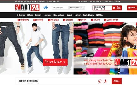 Screenshot of Home Page megamart24.com - Welcome to Megamart24 -The Largest Online Shopping Mall - captured Sept. 6, 2015
