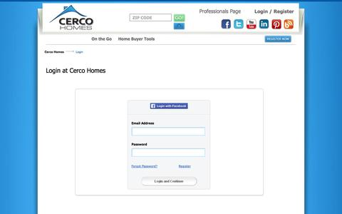 Screenshot of Login Page cercohomes.com - Guide you through each home by local Professionals - captured Sept. 29, 2014
