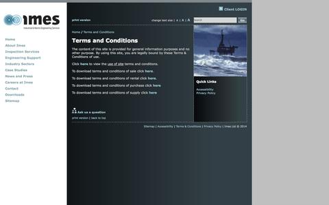 Screenshot of Terms Page imes-group.com - Imes Ltd - Terms and Conditions - captured Sept. 30, 2014