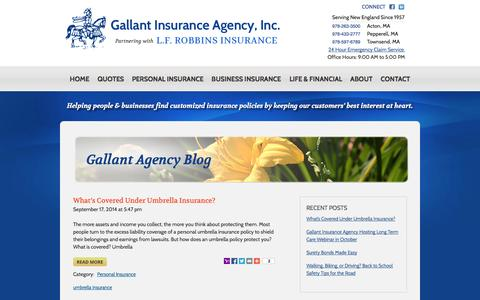 Screenshot of Blog gallantins.com - Gallant Agency Blog - Gallant Insurance Agency, Inc - captured Oct. 1, 2014