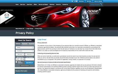 Screenshot of Privacy Page lodgegarage-mazda.co.uk - Privacy Policy - captured Oct. 3, 2014