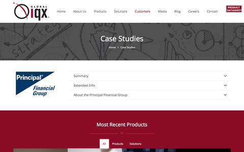 Screenshot of Case Studies Page globaliqx.com - Case Studies: Global IQX - Insurance Software - captured May 19, 2017