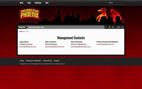 Screenshot of Contact Page phlphoenix.com - Contact the Phoenix | Philadelphia Phoenix :: AUDL - captured Oct. 2, 2014