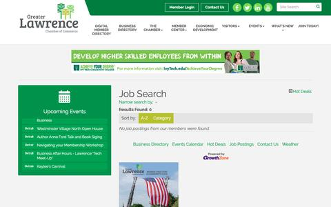Screenshot of Jobs Page lawrencechamberofcommerce.org - Job Search - Greater Lawrence Chamber of Commerce, IN - captured Sept. 30, 2018