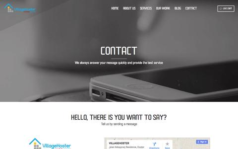 Screenshot of Contact Page villagehoster.com - Contact - VillageHoster | Online Consultant - captured Sept. 27, 2015