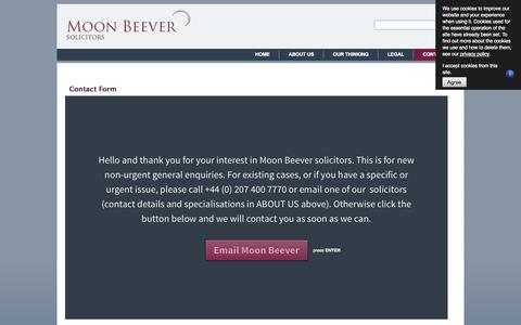 Screenshot of Contact Page moonbeever.com - Contact Us - Moon Beever Solicitors - captured Oct. 9, 2014